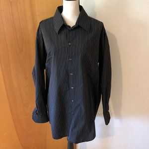 XXL Black Gray Strip Long Sleeve Dress Shirt